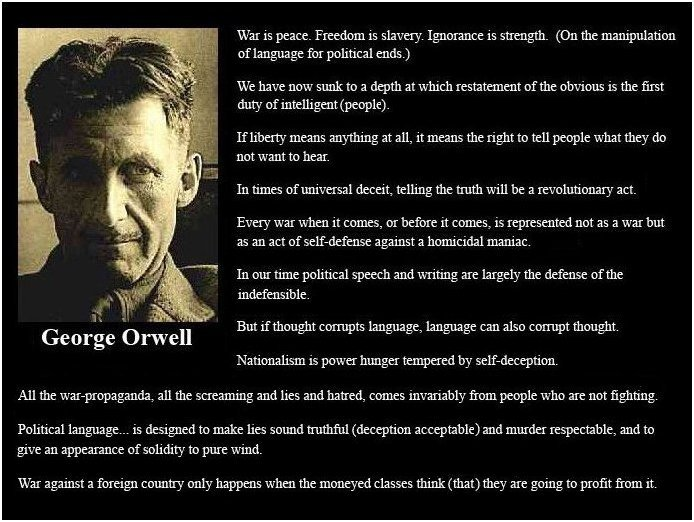 Click here to go to the Wikipedia website to learn about George Orwell and his book,